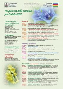 Programma 2012 delle iniziative dell'Orto Botanico Forestale dell'Abetone